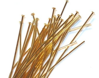 100pcs of gold plated brass headpin 1.75 inch long - 24 gauge