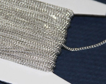 10 ft of Silver plated tiny curb chain - 1.3mm - Soldered links
