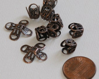 100 pcs of Antiqued copper filigree bead cap 8mm