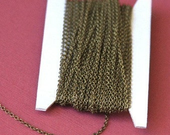 32 ft spool of Antiqued Brass round cable chain 2X1.5mm