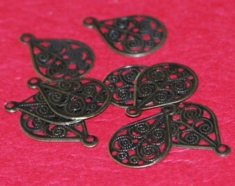 50 pcs of Antiqued brass small filigree teardrop 16X11mm