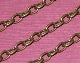 SALE ---- 15ft of Antiqued brass finished over iron large cable chain 5x3.5mm - Open Links