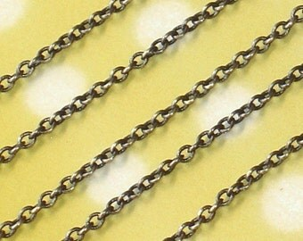 10 ft of Antiqued brass soldered round cable chain 2.1x2.7mm