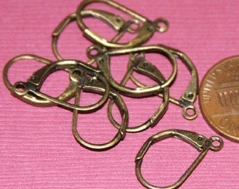 24 pcs of Antiqued brass leverback earwire 12X17mm