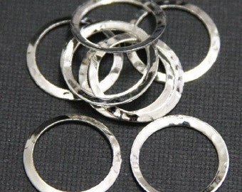 15 pcs of Silver plated over Brass hammered circle link 16mm