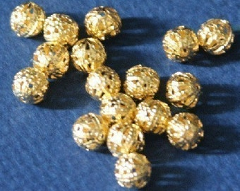 100 pcs of Gold plated brass filigree round beads 6mm