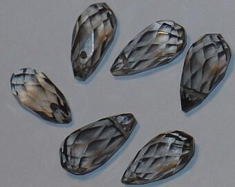 Sale ----- 6 pcs of Smoky glass quartz faceted thin briolette 8X16mm