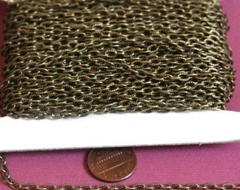 15 ft of Antiqued Brass finished texture cable chain 3X5mm- unsoldered