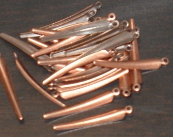 50 pcs of antiqued copper plated brass- curved teardrop 25x3mm