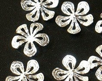 50 pcs of Silver plated flower drop 14.5mm