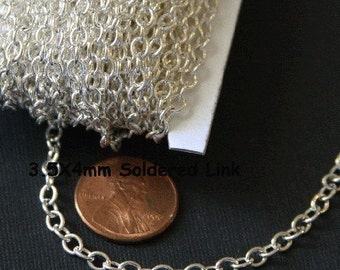 32ft spool of Silver plated round cable chain 4X5mm - Soldered Links