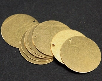 10 pcs of  gold plated thin  Brass coin - 26mm