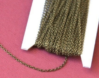 32 ft spool of Antiqued Brass round cable chain 1.5mm