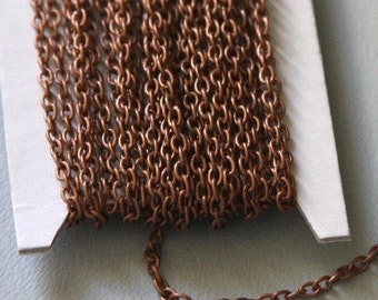 45 ft of Antiqued copper round cable chain 2.6X3.9mm - unsoldered