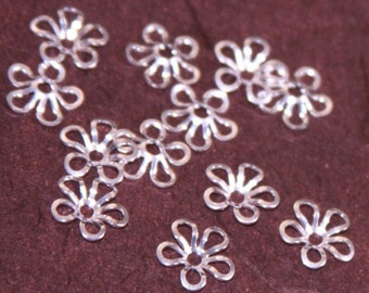 50 pcs of silver plated  flower beadcap 9mm