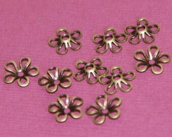 50 pcs of Antiqued brass flower beads cap 9mm