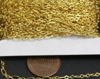 32ft spool of Gold plated Chain ( 3 and 1 ) Long and Short link 4.5X2.5mm - soldered links, gold chain, gold plated brass chain
