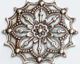 10 pcs of Antiqued silver-plated Brass filigree flower finding 34mm