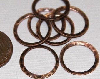 15 pcs of  Antiqued copper hammered circle link 16mm