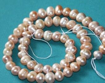 16 inch strand of freshwater Potato pearls 6-6.5mm-mauve