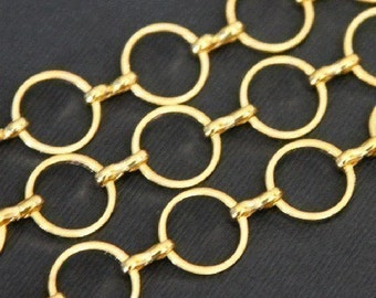 20 ft of gold plated brass circle links chain 12mm
