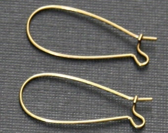 50 pcs of Antiqued brass Kidney earwire  33x14mm