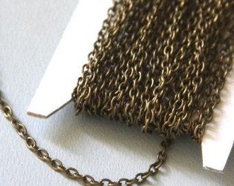 45 ft of Antiqued Brass finished iron round cable chain 2.6X3.9mm - unsoldered