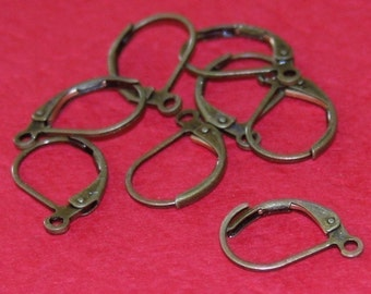 Wholesale   500 pcs of Antiqued brass leverback earwire 10X15mm