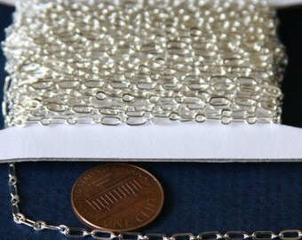 100 ft spool of Silver plated long and short chain 4X2mm - Soldered LInks, silver bulk chain, brass bulk chain