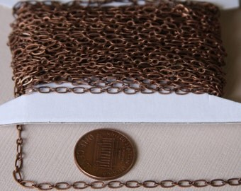 100 ft spool of Antiqued Copper Long and Short chain 4X2mm- Soldered Links