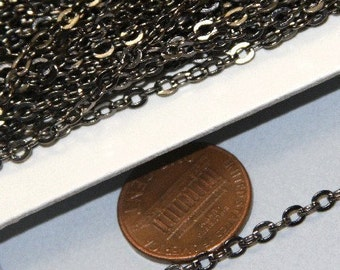 32 ft spool of Gunmetal plated over brass flat cable chain 3X3mm, bulk chain