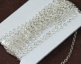 100 ft spool of Silver Plated Flat Cable Chain 3x3mm