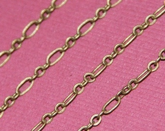 10 ft of Antiqued Brass chain ( 3 and 1 )Long and Short Chain 4.5X2.5mm - Soldered Links