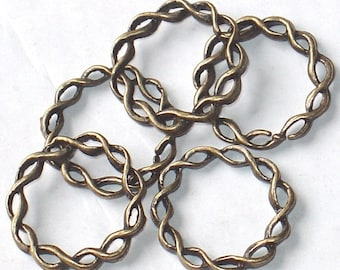 100 pcs of Antiqued brass twisted rings 20 mm