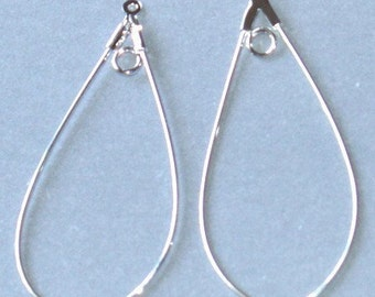 20 pcs of Silver-plated brass  teardrop hoop 40x22mm