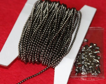 100 ft  of Gunmetal plated  1.5mm ball chain with connector