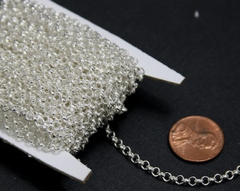 Sale ----- 25ft spool of  Silver plated Rollo chain 3.2mm   unsolder links