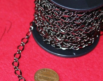 32ft spool of Gunmetal high quality hammered soldered chain 5X8mm