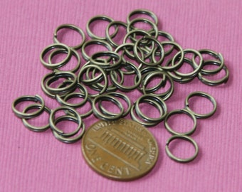 100 pcs of Antiqued brass split rings 8mm