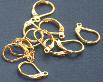 50 pcs of Gold  plated leverback earwire 10X15mm