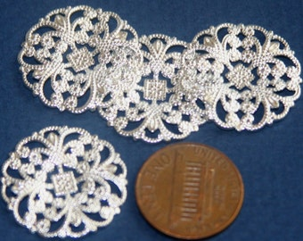 12pcs Silver plated brass filigree round  22mm