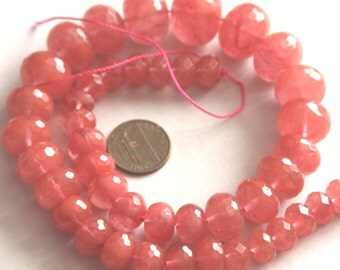 16 in strand of Cherry  quartz rondelle beads - Gradual size