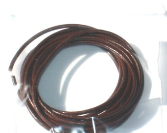 10 ft of Dark brown  leather cord, necklace or Bracelet cord 1mm, bulk leather cord