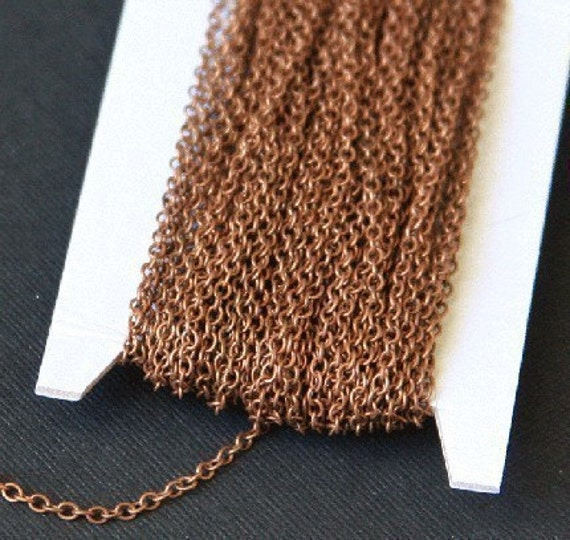 100 ft spool of  Antiqued Copper plated Brass round cable chain 2X2.5mm