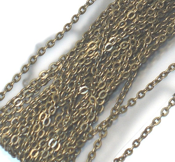 45 ft of antiqued brass over iron cable links chain 3X2mm