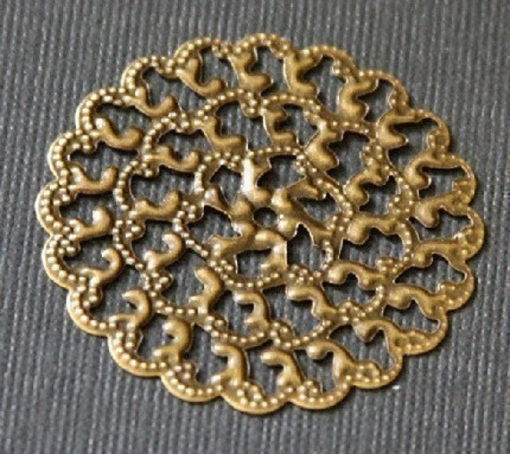 100 pcs of Antiqued brass filigree sheets 35X35mm