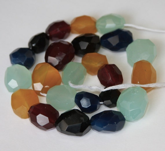 16 inches strand of multi color agate faceted nugget 12X16-14X22mm
