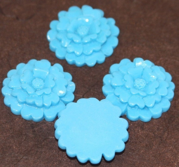 4 pcs of Acrylic  3 layer flower Cabochons - Turquoise Blue -- 23mm