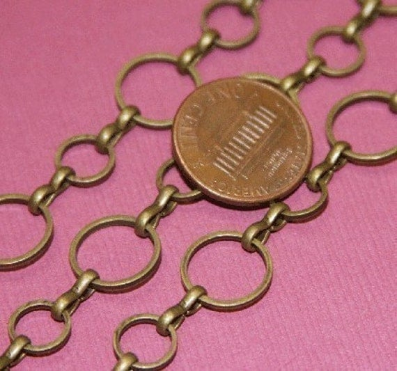 5 ft of Antiqued brass circle links chain 8mm-12mm (Lead safe- NIckel safe)