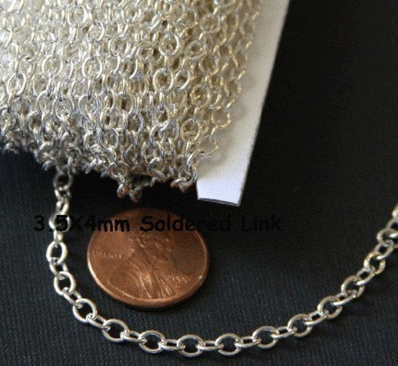 3ft SAMPLE chain of Silver plated chain round cable chain 4x5mm soldered links